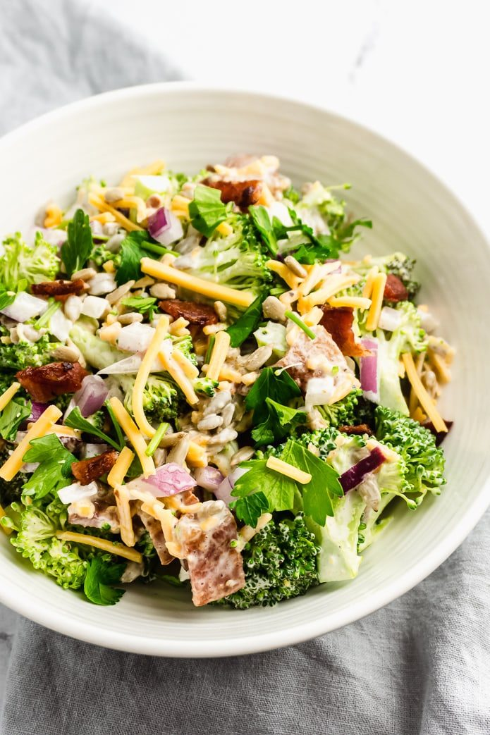 keto broccoli salad with cheddar cheese and bacon