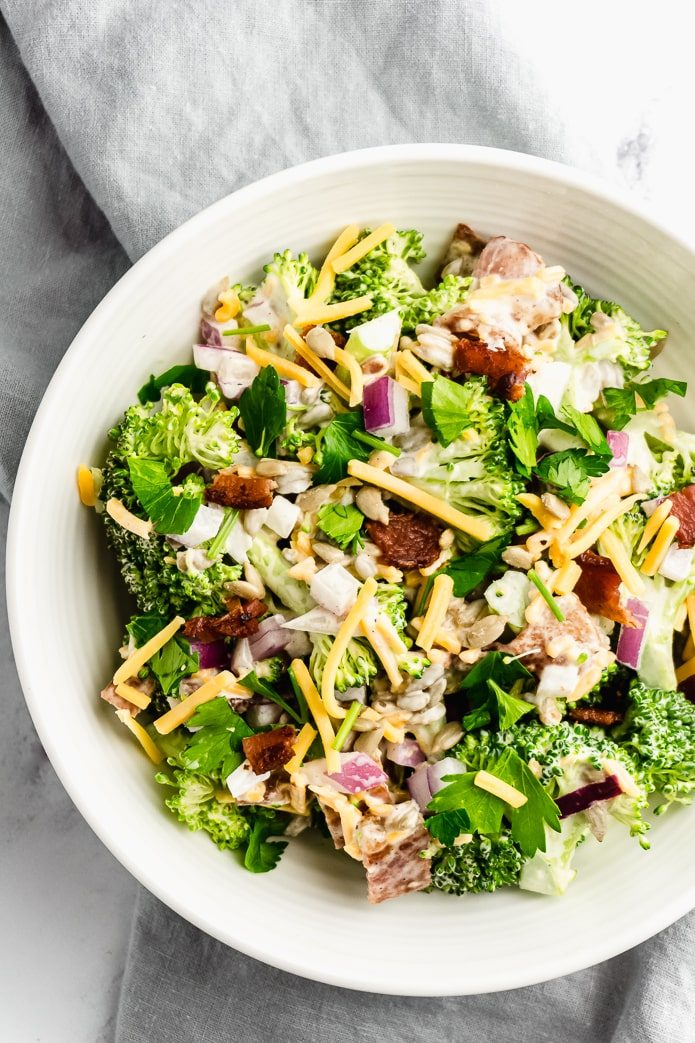 keto broccoli salad with bacon and cheese