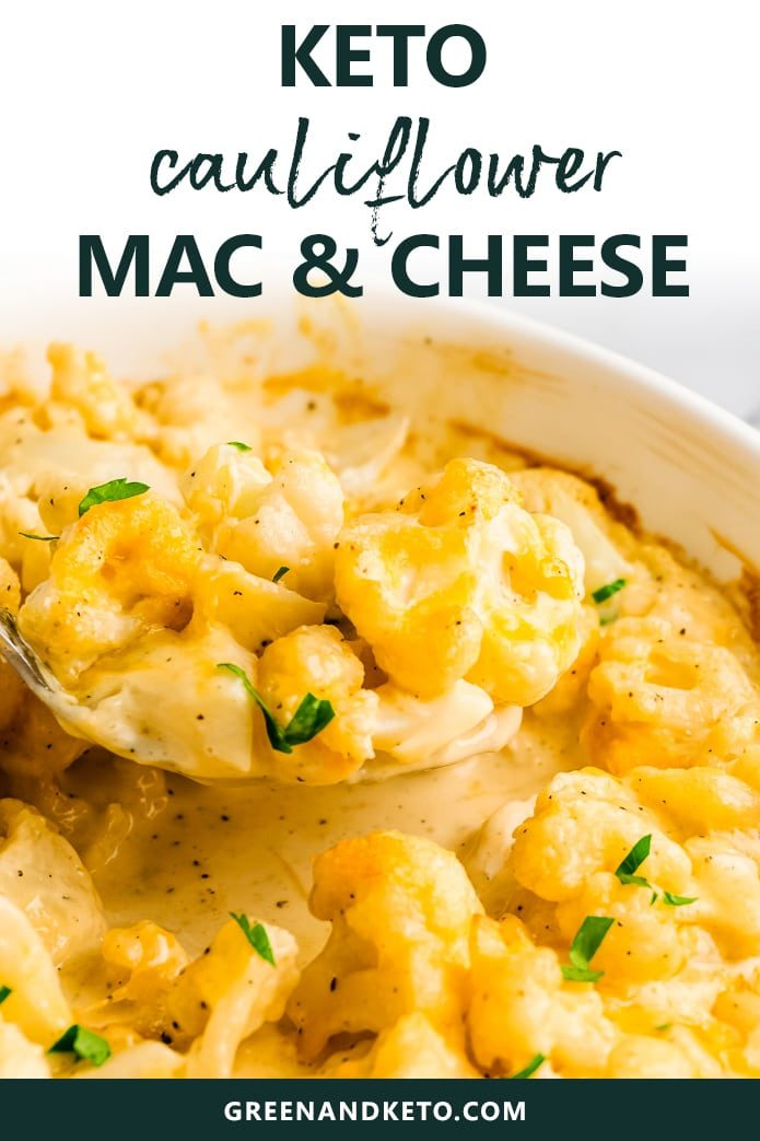 Creamy keto cauliflower mac and cheese is an easy keto side dish that your whole family will enjoy.  Cauliflower is a low carb pasta swap that makes a keto-friendly, gluten-free spin on this comfort food classic.