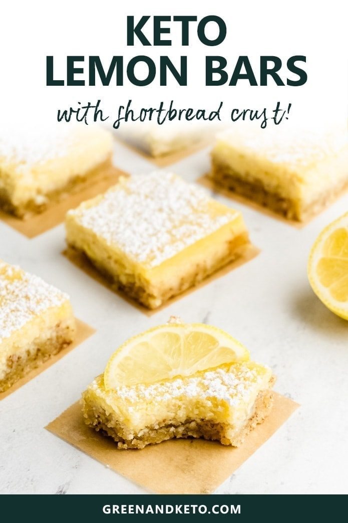 You'll love these easy Keto Lemon Bars with a press-in Shortbread Crust made from almond flour. These healthy low-carb lemon bars are deliciously sweet, as well as sugar-free and gluten-free.