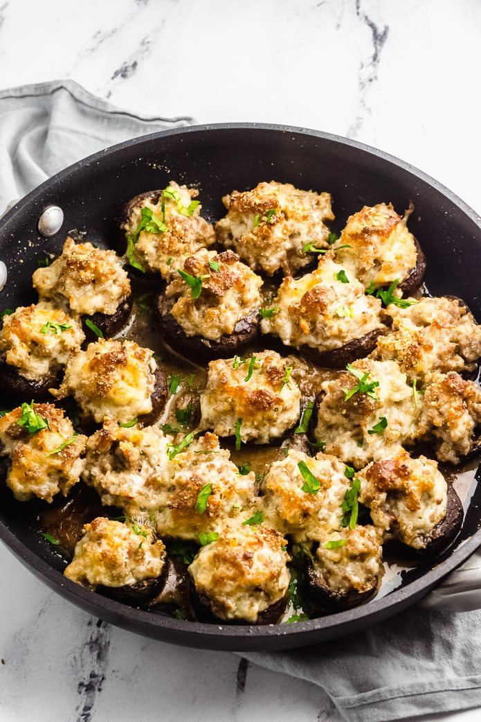 large skillet with keto gluten-free stuffed mushrooms