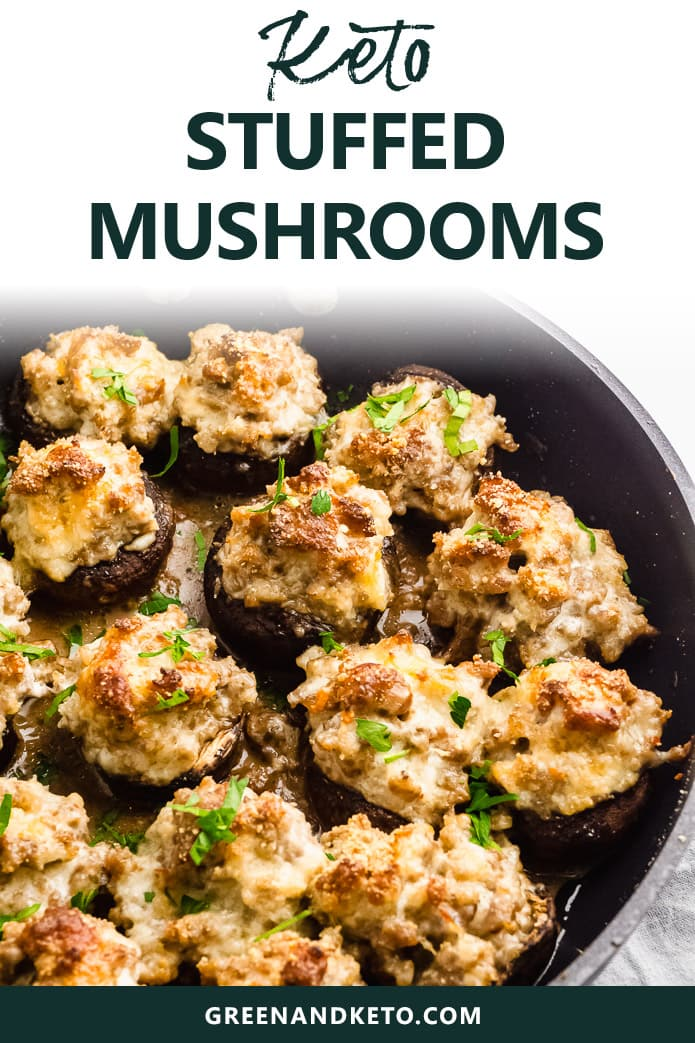 These Keto Stuffed Mushrooms are a delicious low-carb appetizer that's perfect for parties and game-day snacks! Filled with a savory mixture of sausage and cheese, they're sure to please.