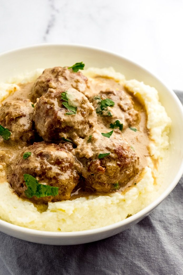 low-carb swedish meatballs on keto mashed cauliflower