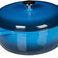 AmazonBasics Enameled Cast Iron Covered Dutch Oven, 6-Quart, Blue
