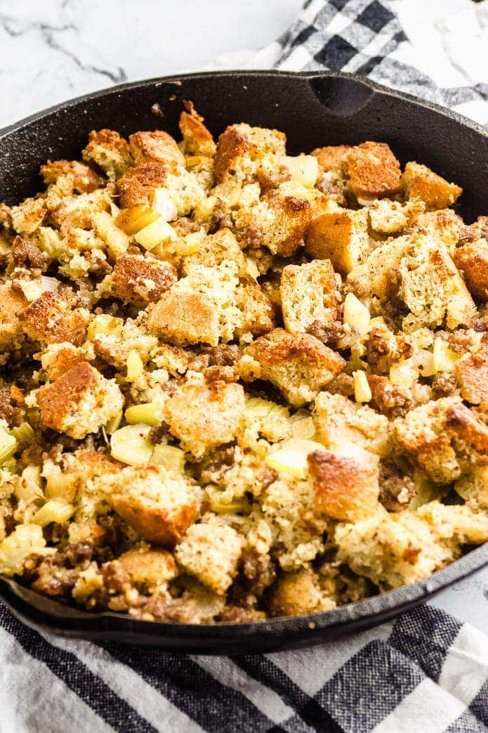Keto Cornbread Stuffing with Sausage