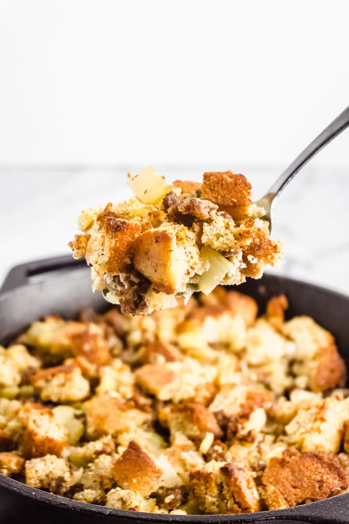 spoon full of keto cornbread stuffing