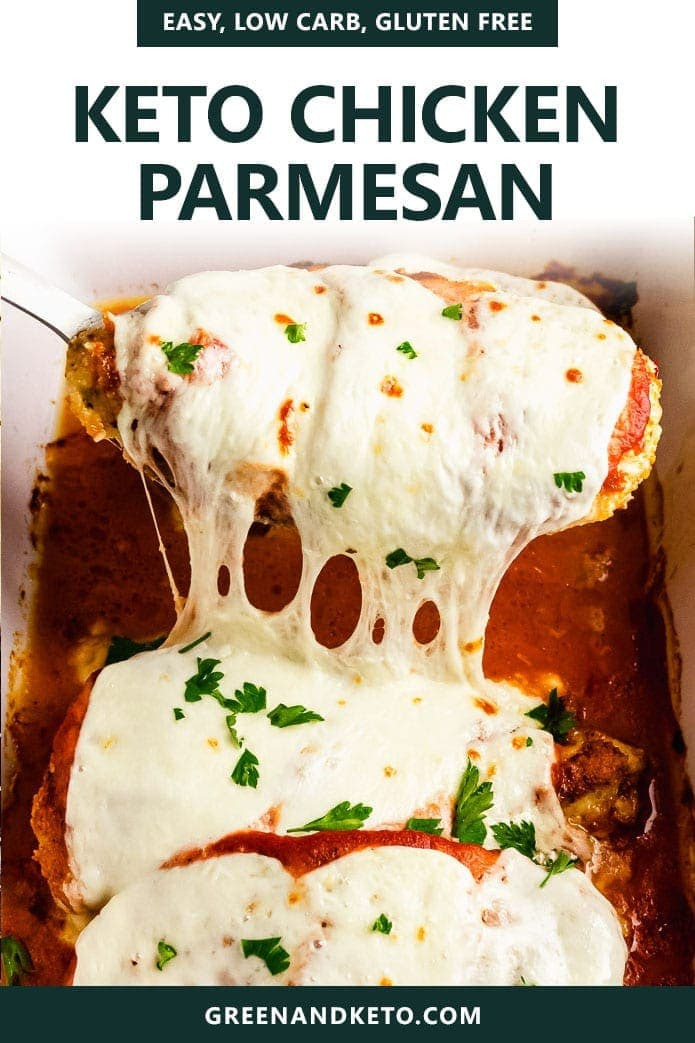 Easy Keto Chicken Parmesan is a healthy, low-carb, and gluten-free dinner recipe that is fast and delicious.