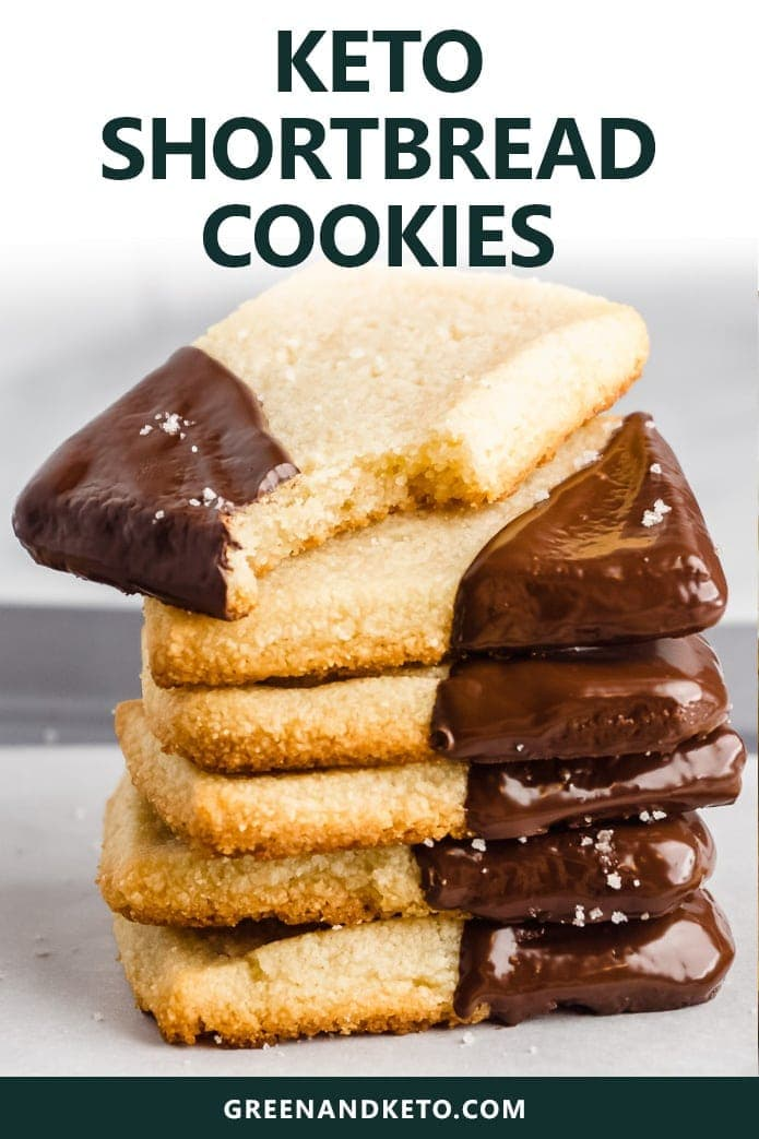 Keto Shortbread Cookies are a perfect sweet treat to make for the holidays.  These low-carb keto cookies are made with almond flour, so you know they're healthy, gluten-free and keto-friendly! Dip in melted dark chocolate for the ultimate keto dessert.