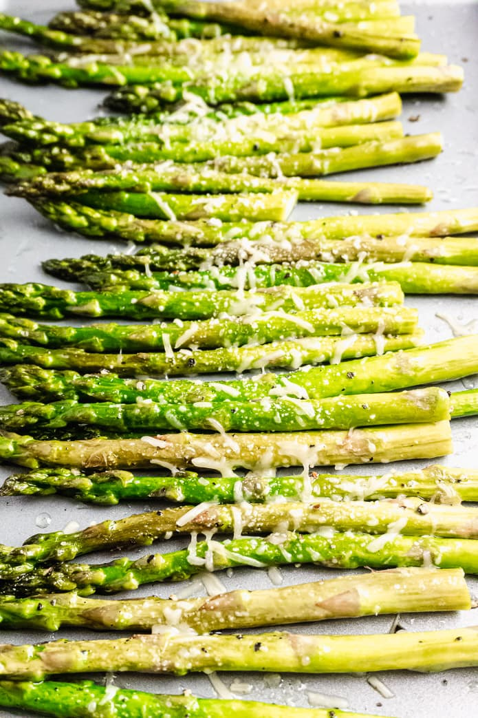 oven sheet pan roasted asparagus with Parmesan cheese
